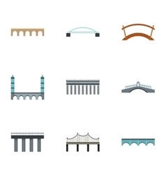 Facility for crossing river icons set flat style vector image