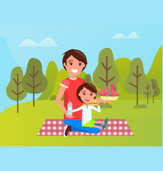 family near green trees dad and son on mat vector image
