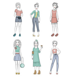 fashion girls female young models standing posing vector image