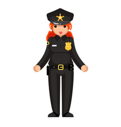 female policeman flat design woman character vector image