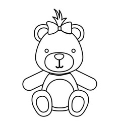 Figure teddy bear bow head vector