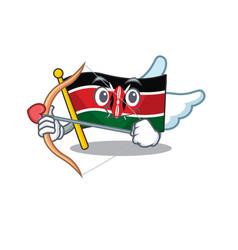 Flag kenya cupid cartoon with character happy vector