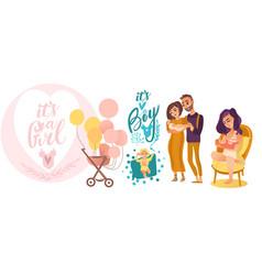 flat newborn baby symbols set vector image