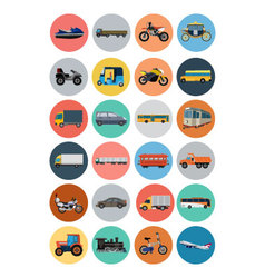 Flat Transport Icons 4 vector image