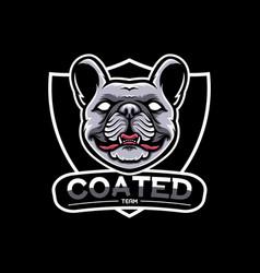 french bulldog mascot logo short hair coated dog vector image