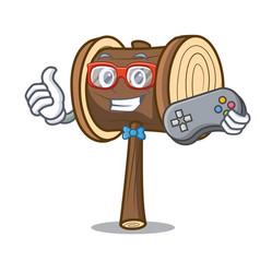 Gamer mallet mascot cartoon style vector
