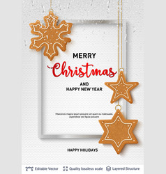 gingerbread cookies and text on light banner vector image