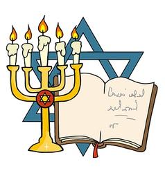 Gold menorah cartoon vector