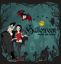 Halloween backgrounds with vampire family couple vector
