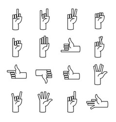 hands fingers line icons thumb up like dislike vector image