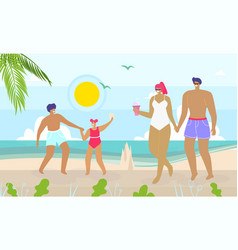 Happy family walking and having rest on beach vector