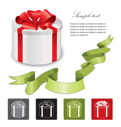 Holiday gift box icon set isolated background vector