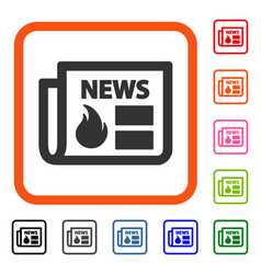 Hot news framed icon vector