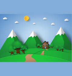 house on the hill with nature landscape paper vector image