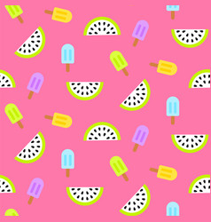 Ice cream popsicles and watermelon slices seamless vector