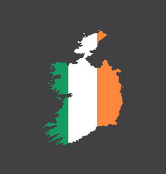 Ireland flag and map vector
