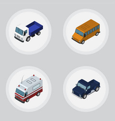 Isometric car set of first-aid suv autobus and vector