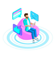 isometrics man communicates in a chat vector image