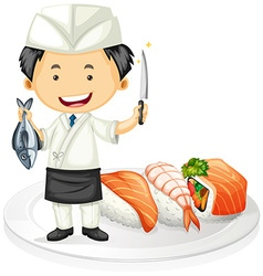 Japanese chef cooking sushi vector