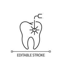 Laser dental procedures linear icon vector