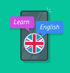 learning english on smartphone app or study vector image