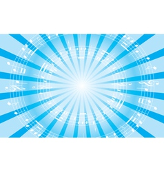 light blue music background with radial rays vector image