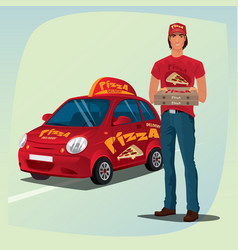man holding out pizza boxes in front of car vector image