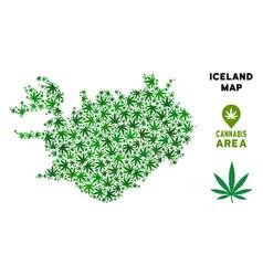 Marijuana collage iceland map vector