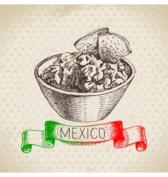 Mexican traditional food background with guacamole vector image