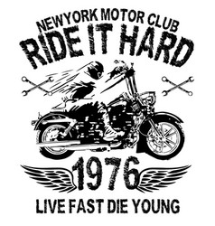 Motorcycle typography vintage motor t-shirt vector