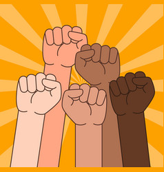 Multi ethnic people with raised fist vector