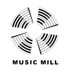 Music logo piano as wind mill icon simple style vector