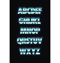 Neon and metal glowing alphabet vector