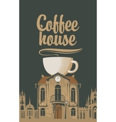 Old house with a cup of coffee vector