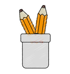 pencil holders isolated icon vector image