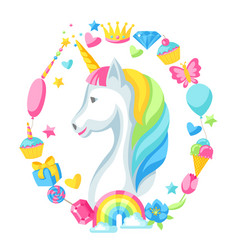 Print or card with unicorn and fantasy items vector