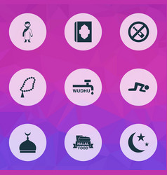 ramadan icons set with isha minaret forbidden vector image