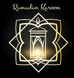 ramadan kareem poster with golden lamp vector image