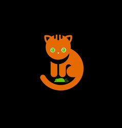 red cat logo cute red kitty with green eyes mouse vector image