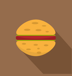 Sandwich with meat patty icon flat style vector