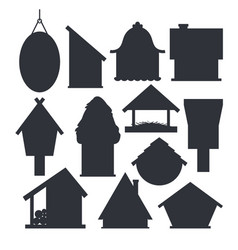 set different bird houses in monochrome color vector image