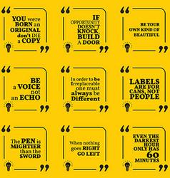 Set of motivational quotes about unique vector image