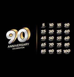 set premium anniversary logotype silver vector image