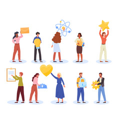 Set tiny people different activities vector