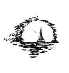sketch a yacht at sunset vector image