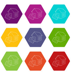 smart home icons set 9 vector image