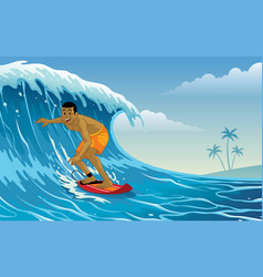 surfer playing surfing on waves vector image