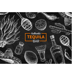 Tequila bar blackboard label mexican vector