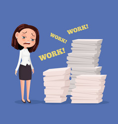 Tired unhappy office worker woman character vector
