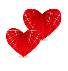 two ruby red heart with faces and shadow vector image